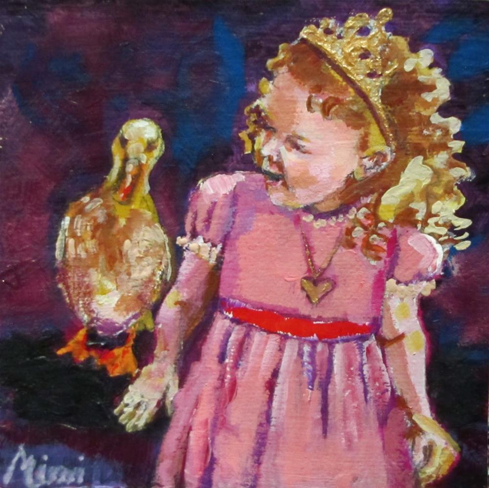 """Princess at Court  4x4 acrylic"" original fine art by Christine Holzschuh"