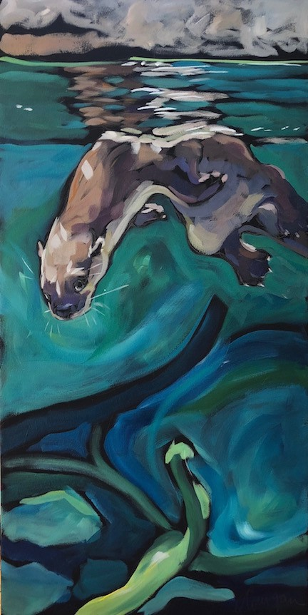 """Otter Reflection With Log"" original fine art by Kat Corrigan"