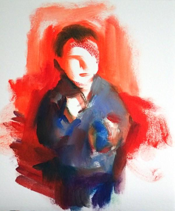 """""""Red Boy"""" original fine art by Sharon Savitz"""