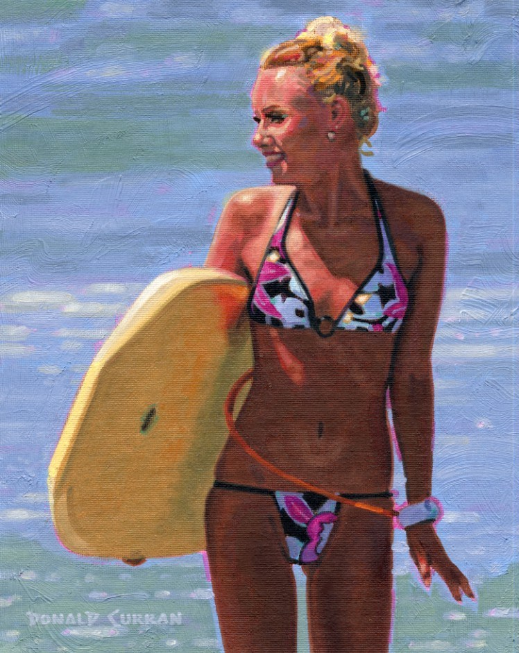 """Surfer Girl"" original fine art by Donald Curran"