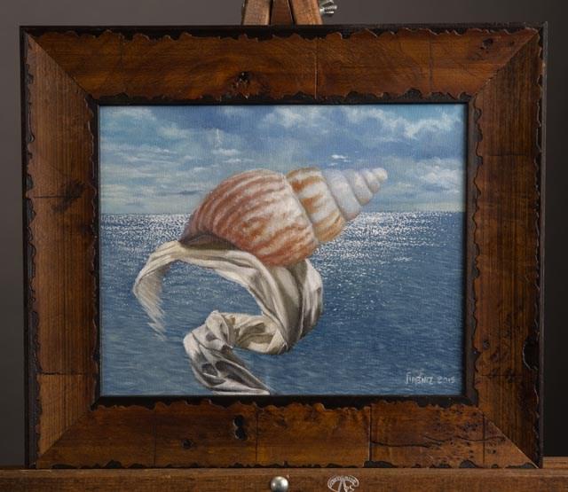 """Seashell II 8 x 10 oil on panel still life"" original fine art by Paulo Jimenez"