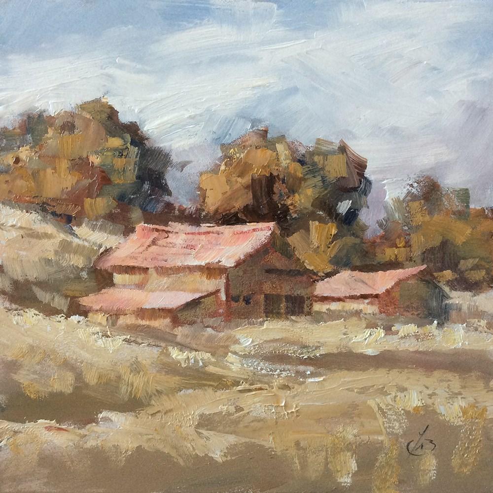 """RUSTIC BARN"" original fine art by Tom Brown"