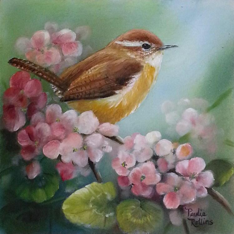 """Geranium Visitor"" original fine art by Paulie Rollins"