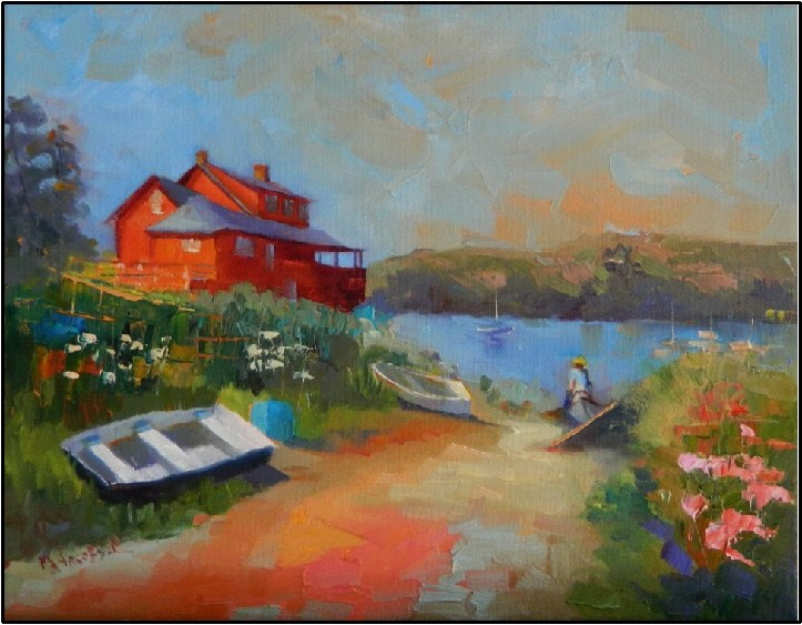 """The Red House, Monhegan Island, 14x11, oil on canvas"" original fine art by Maryanne Jacobsen"