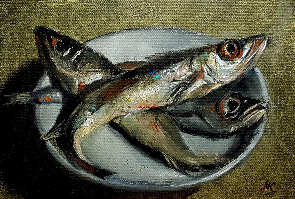 """Whole whiting"" original fine art by Natalia Clarke"