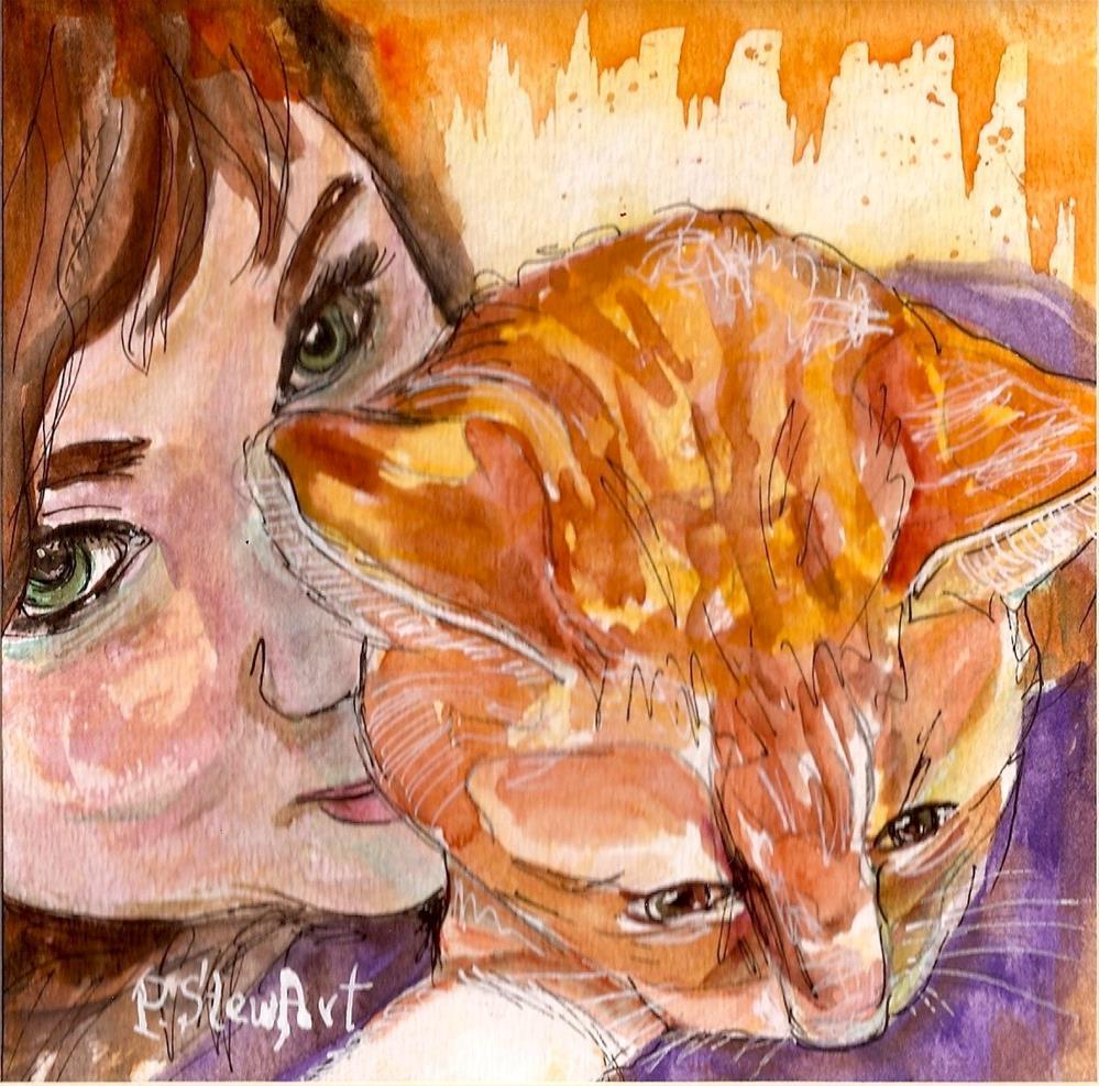 """Mia and her Cat, 6x6 Loose Watercolor and Pen, SFA, OOAK, Penny StewArt"" original fine art by Penny Lee StewArt"