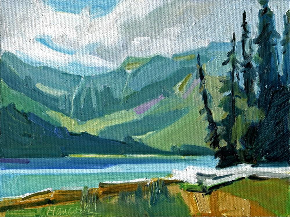 """""""Avalanche Lake"""" original fine art by Gretchen Hancock"""