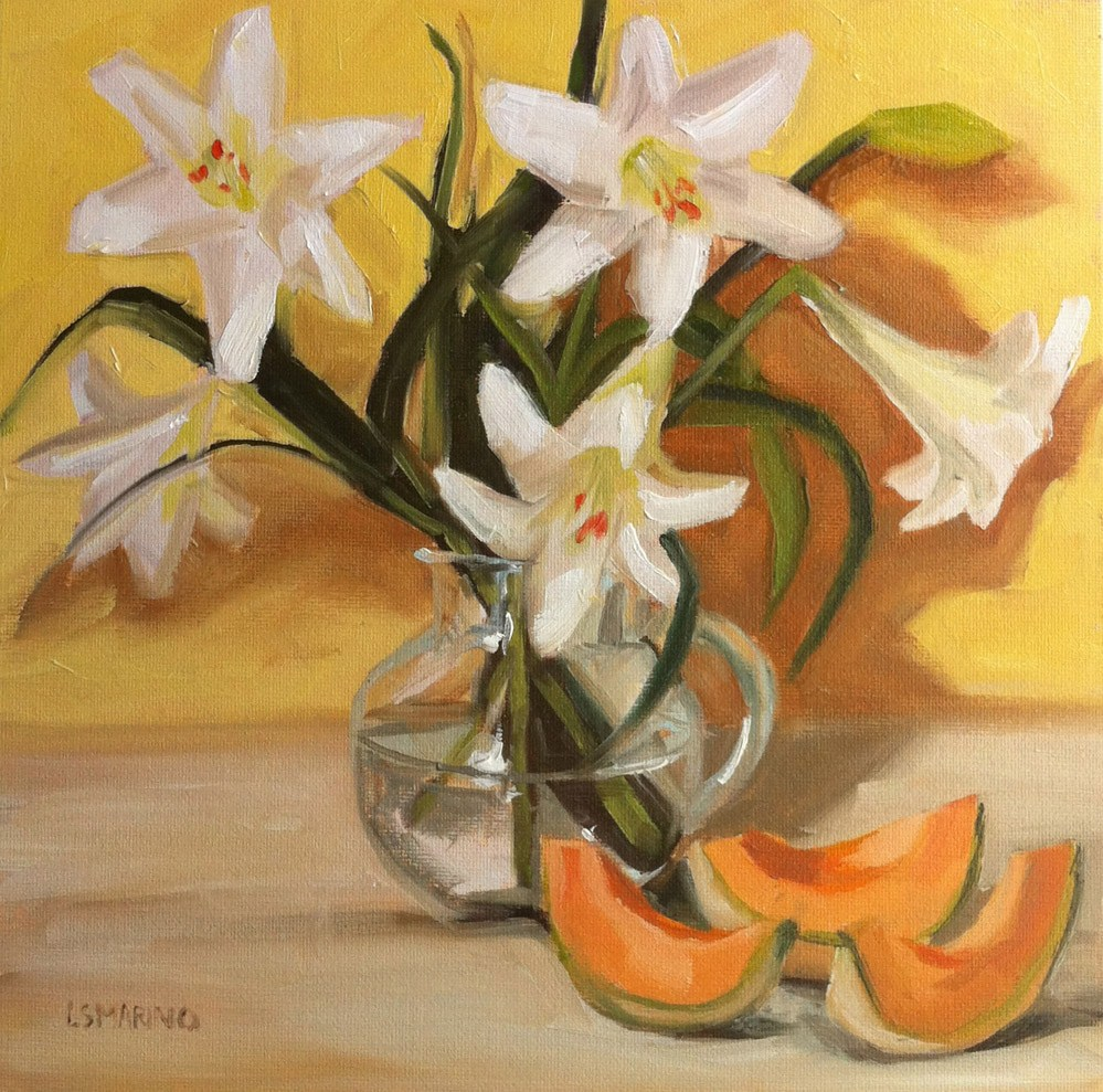 """Lilies and Melon"" original fine art by Linda Marino"