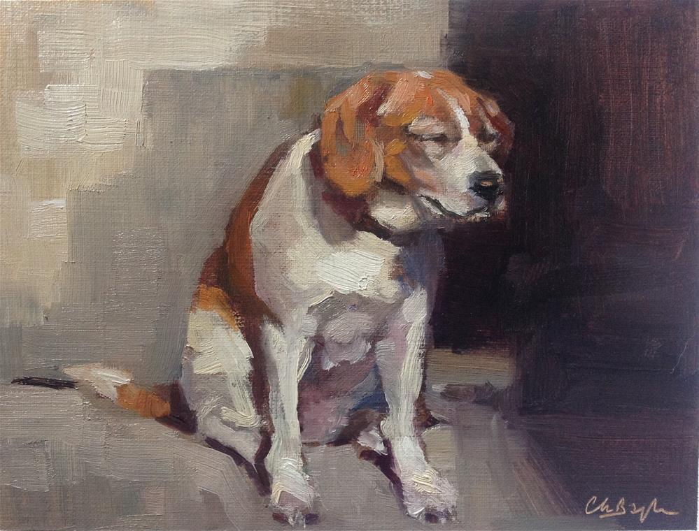 """Dog in the winter slun"" original fine art by Christine Bayle"