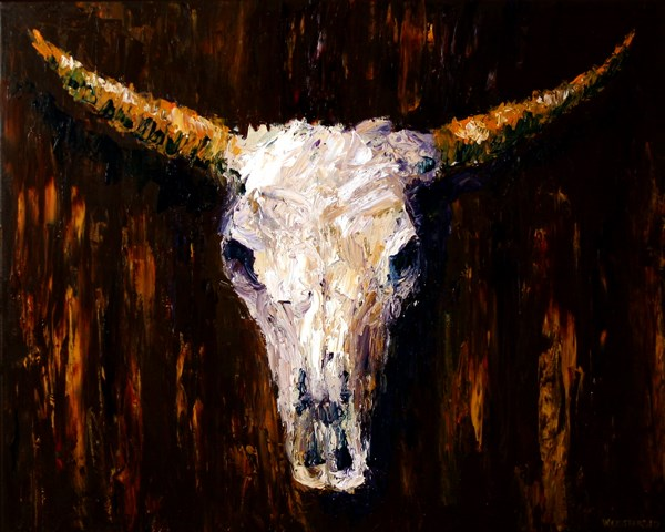 """""""Mark Webster - Cow Skull Acrylic Painting 24x30 - Textured Palette Knife Acrylic Painting"""" original fine art by Mark Webster"""