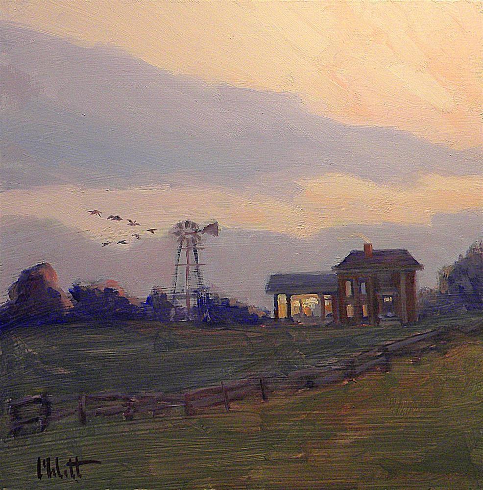 """Canadian Geese Autumn Farm Landscape at Dusk Original Oil Painting 8x8"" original fine art by Heidi Malott"