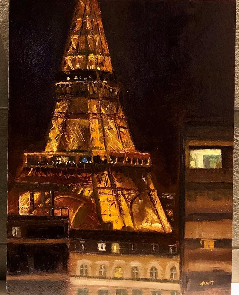 """""""Eiffel Nocturne"""" original fine art by Garry Kravit"""