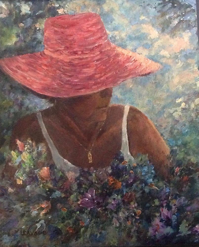 """""""Selfie in the Garden"""" original fine art by Judy Usavage"""