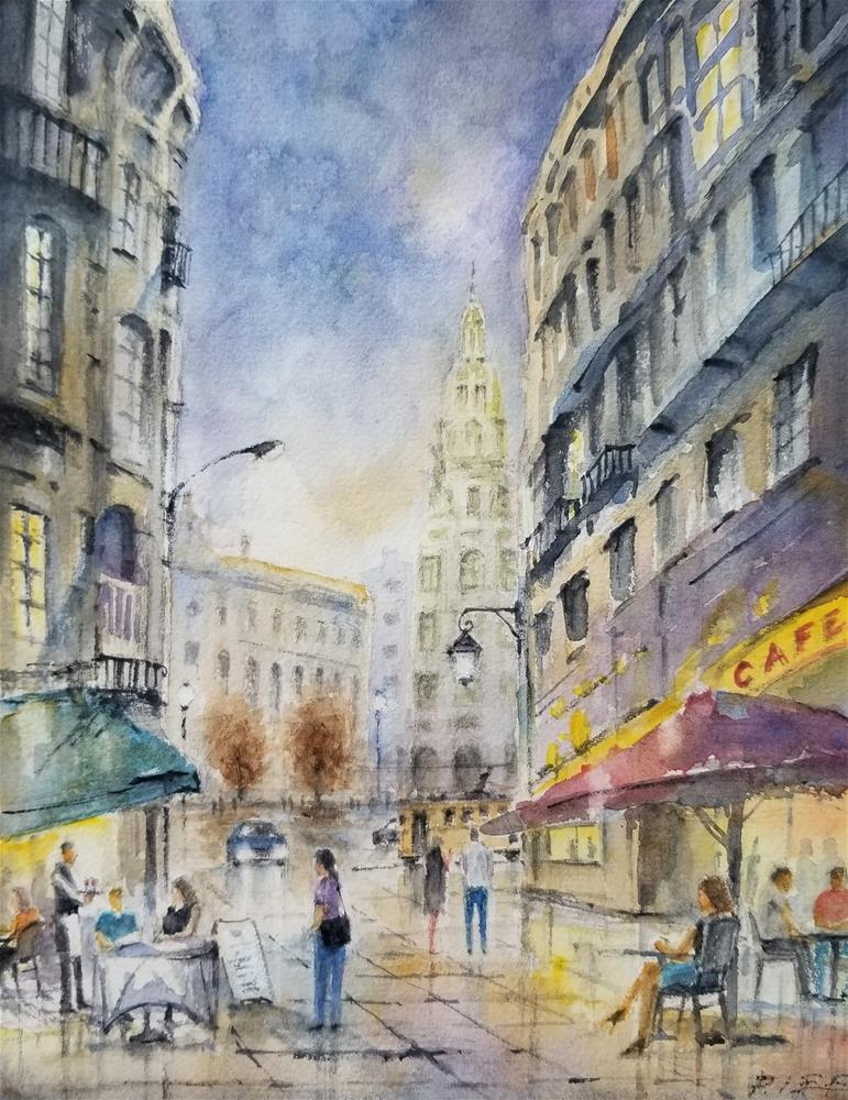 """A night in Porto"" original fine art by Peter Lee"