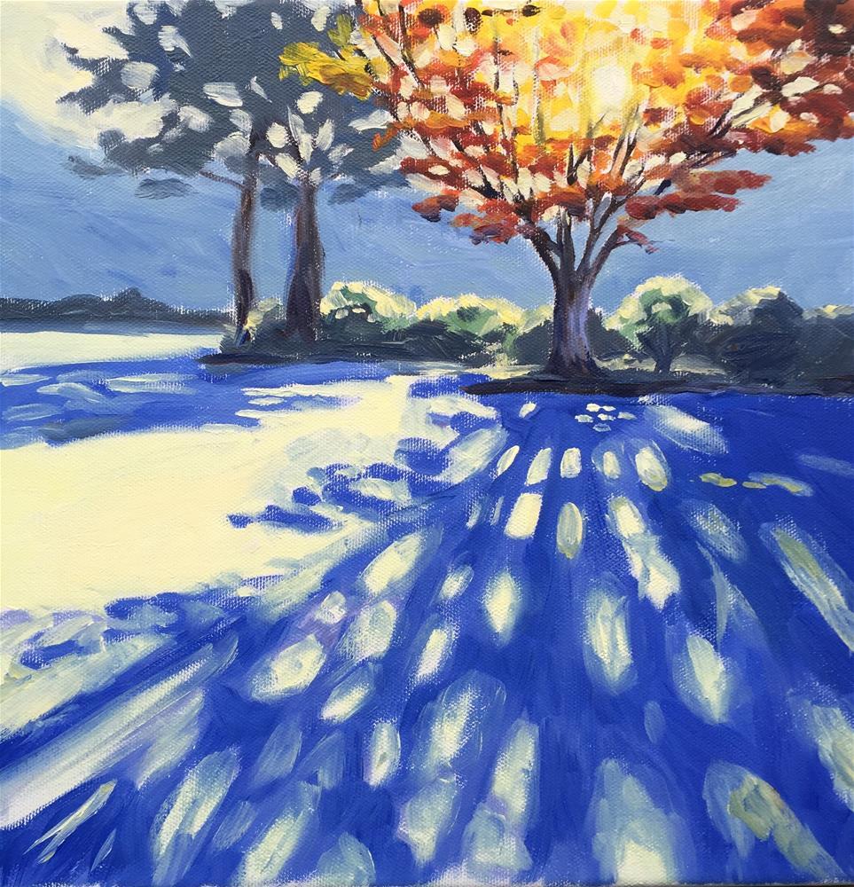 """Blue shadows"" original fine art by Natasha Ramras"