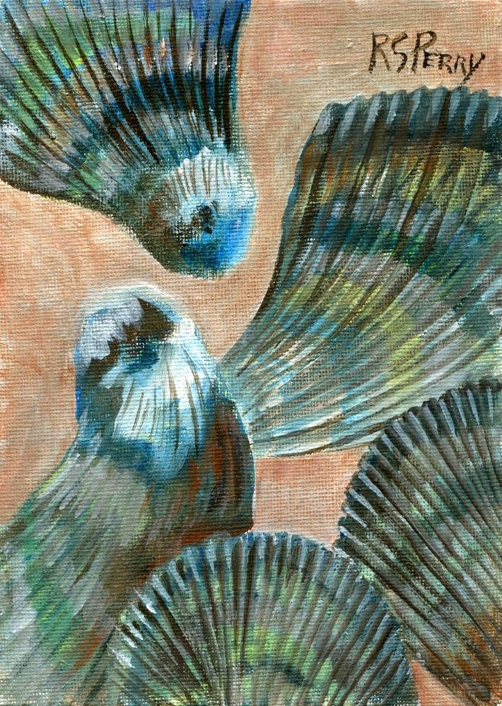 """Atlantic Ribbed Mussels"" original fine art by R. S. Perry"