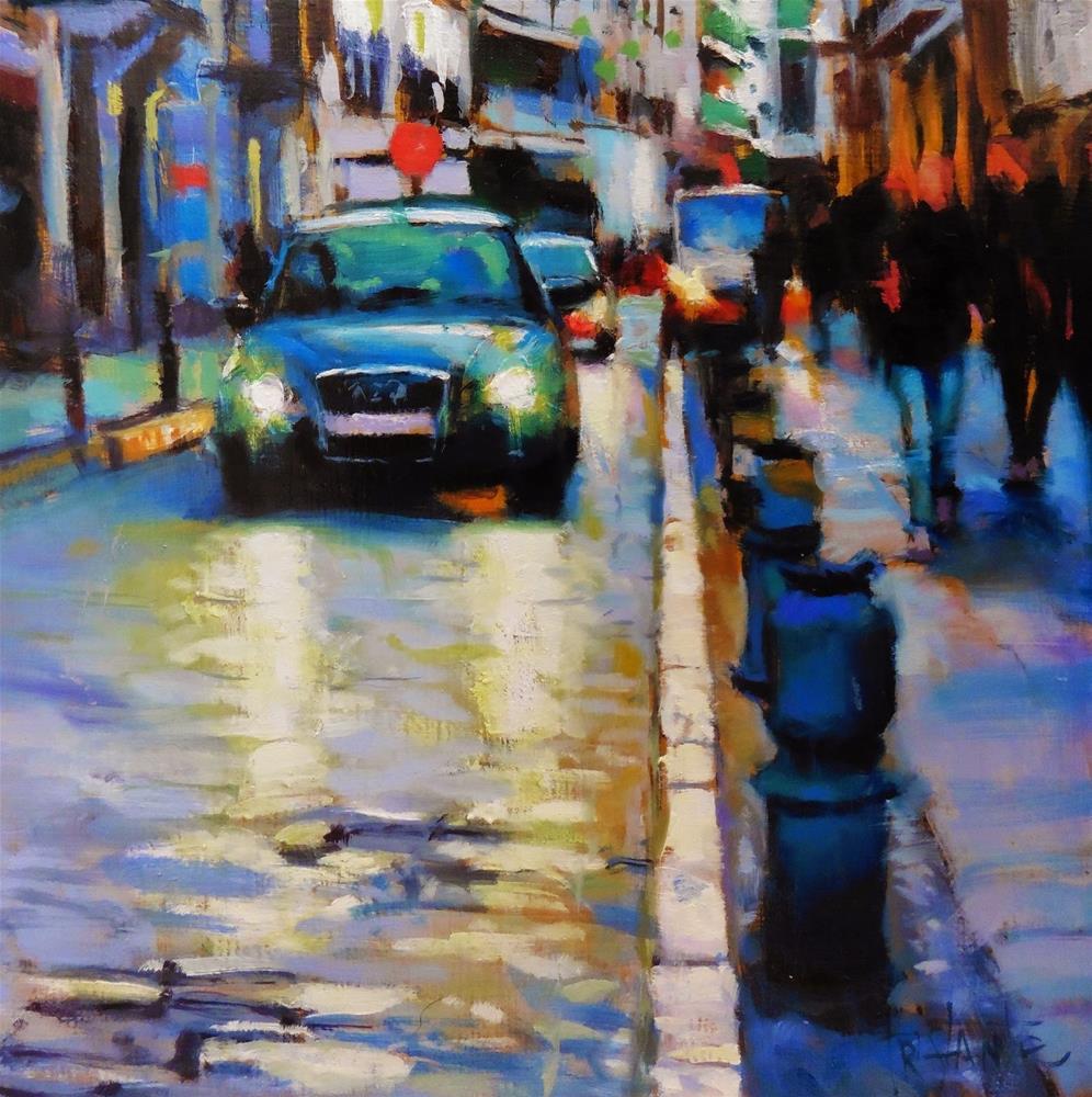 """Car lights"" original fine art by Víctor Tristante"