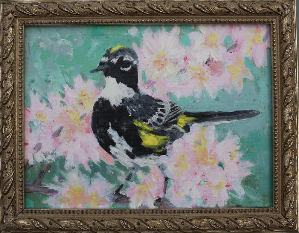 """""""Cherry Blossoms and Warbler"""" original fine art by Michael Saunders"""