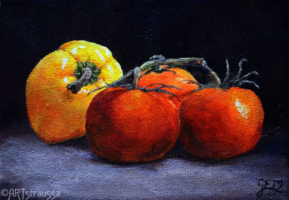 """Tomato Pepper Medley (Charity)"" original fine art by Gloria Ester"
