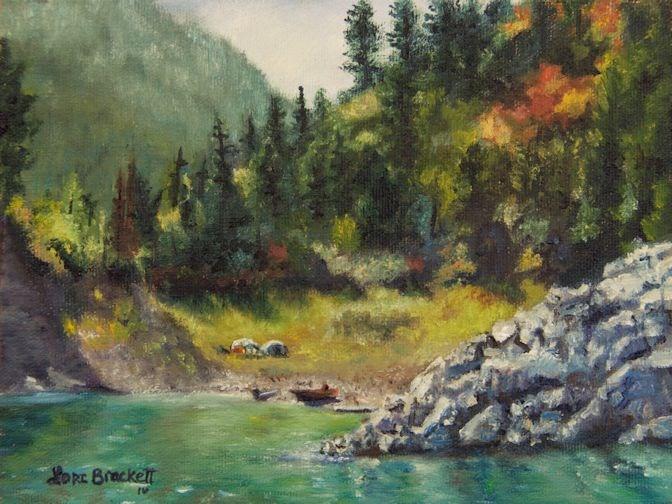 """Camping On The Lake Shore"" original fine art by Lori Brackett"