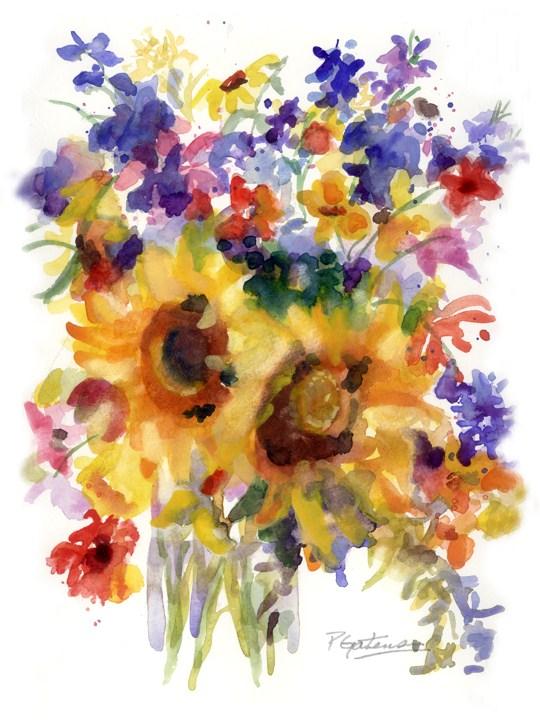 """""""Sunflower Mix"""" original fine art by Pamela Gatens"""