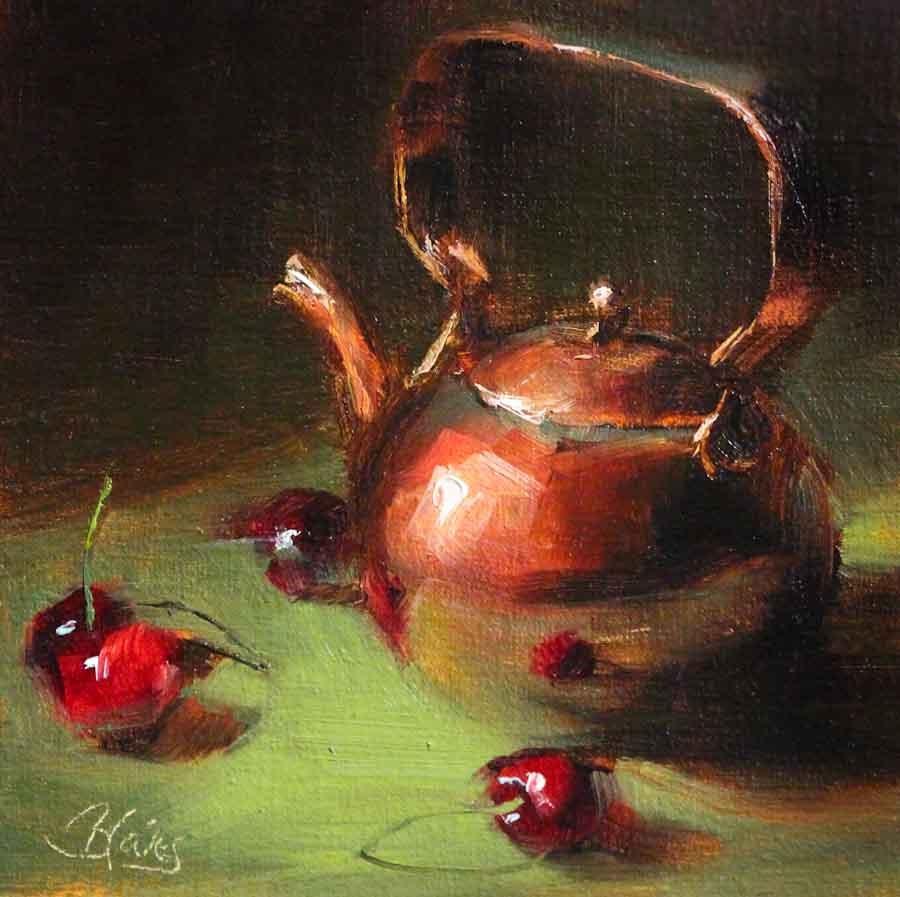 """Copper Teapot and Cherries"" original fine art by Pamela Blaies"