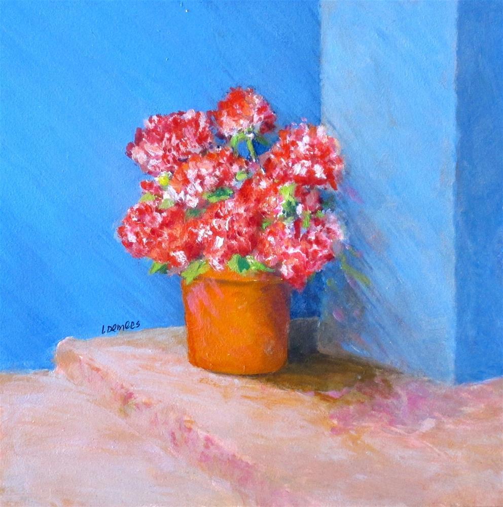 """Flowers in a Corner"" original fine art by Linda Demers"