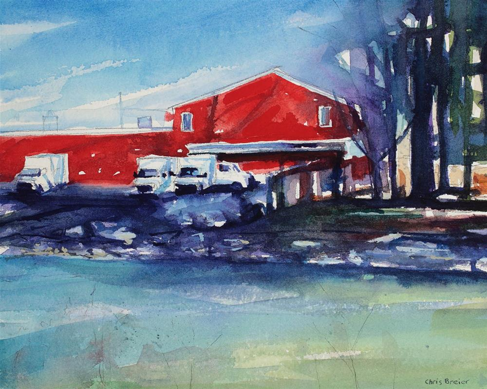 """Red Building on Ellicott Creek 2"" original fine art by Chris Breier"