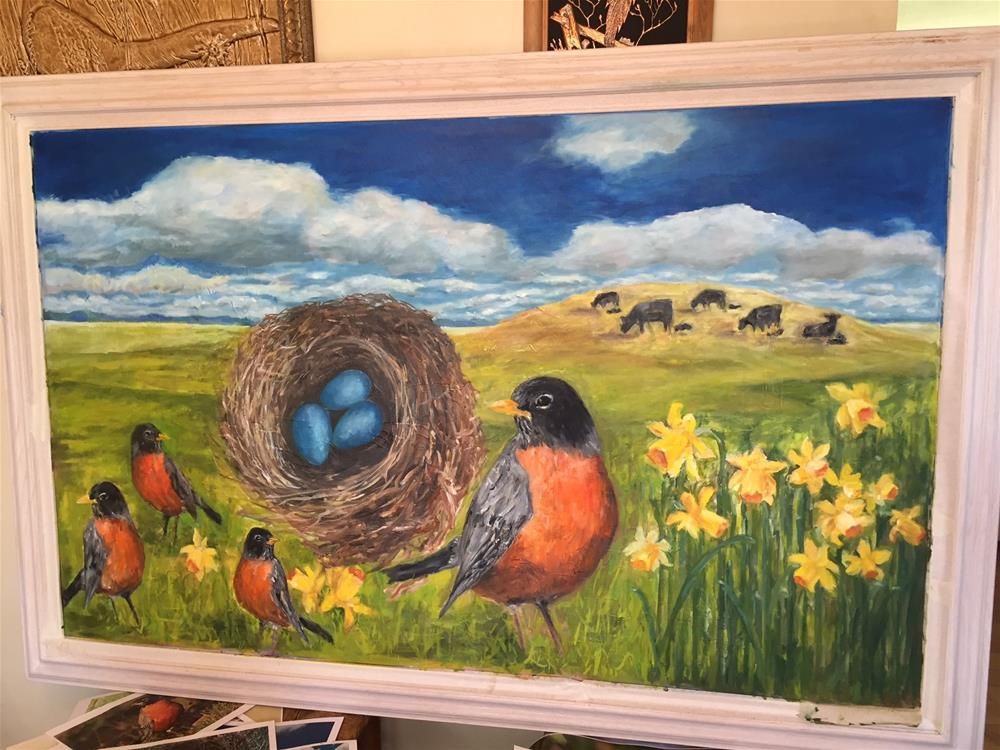 """Return of the Robins"" original fine art by Lucy Hammett"