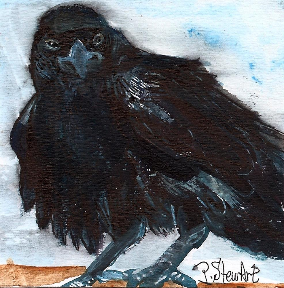 """""""4x4 The Raven Challenge, Acrylic on heavy paper, with liner work in pen"""" original fine art by Penny Lee StewArt"""