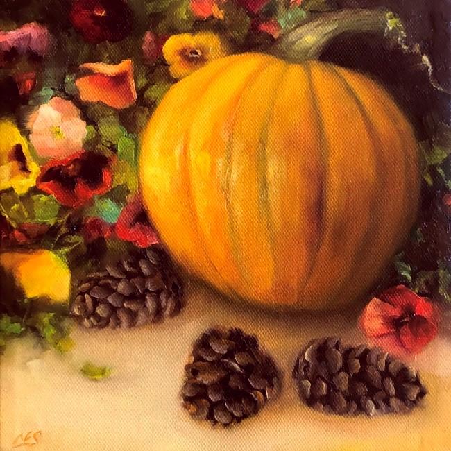 """Pumpkin, Pansies, and Pine Cones"" original fine art by Christine E. S. Code"