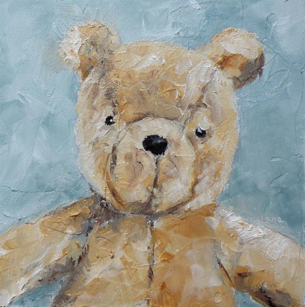 """VINTAGE POOH BEAR ORIGINAL 4X4 OIL ON PANEL FOR MY ETSY SHOP © SAUNDRA LANE GALLOWAY"" original fine art by Saundra Lane Galloway"