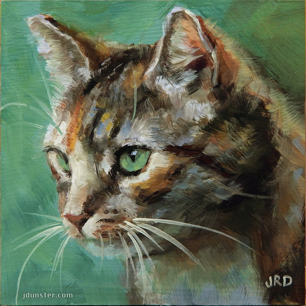 """Cat in the Grass"" original fine art by J. Dunster"