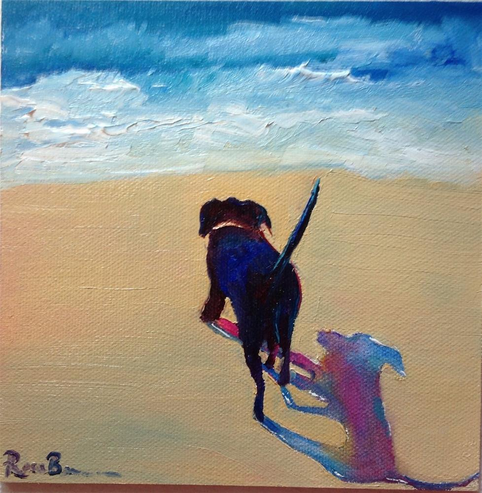 """""""My Dog at the Beach"""" original fine art by Rose Brenner"""