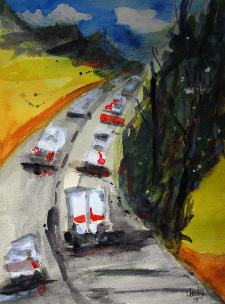 """Traffic Portrait"" original fine art by Donna Crosby"