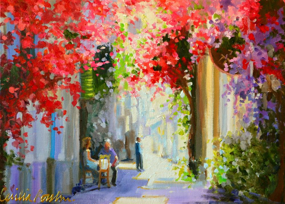 """BOUGAINVILLEA LANE"" original fine art by Cecilia Rosslee"