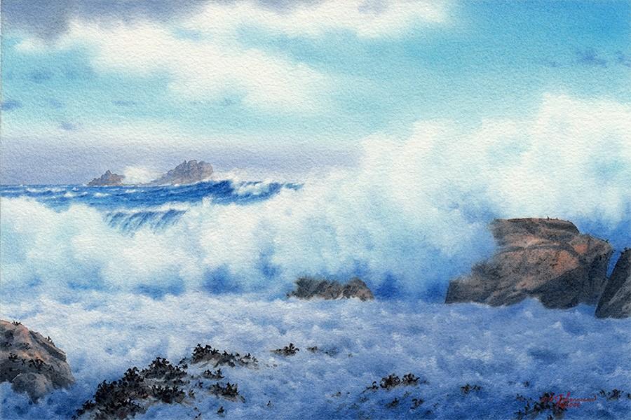 """""Blue Seas ... White Surf"" (Cornwall, England)"" original fine art by Steven Thor Johanneson"