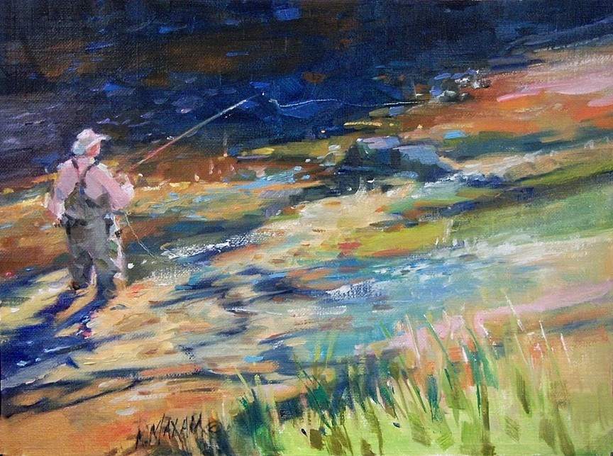 """""""Almost Heaven - Fly Fishing on the Big Horn River"""" original fine art by Mary Maxam"""
