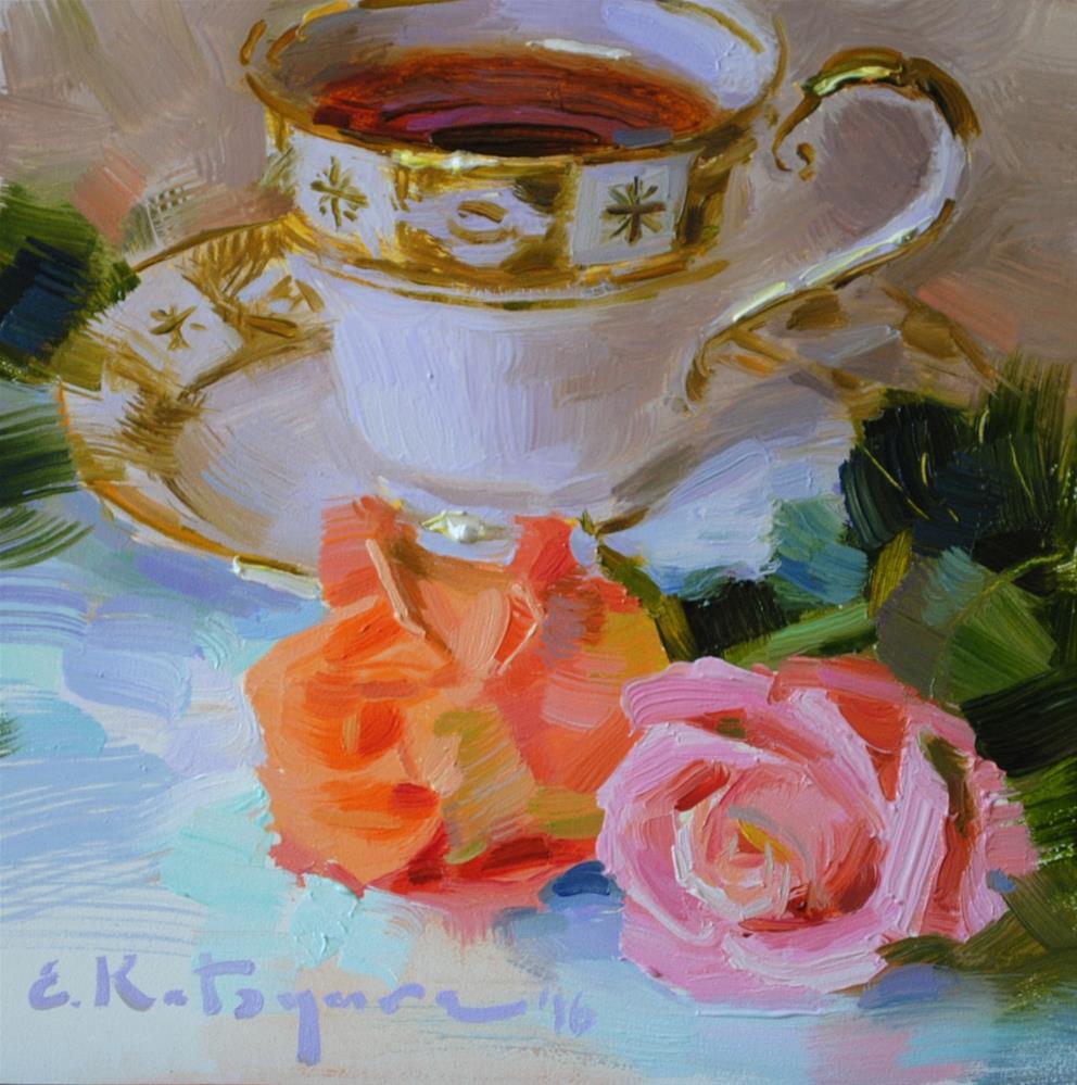 """September Tea"" original fine art by Elena Katsyura"