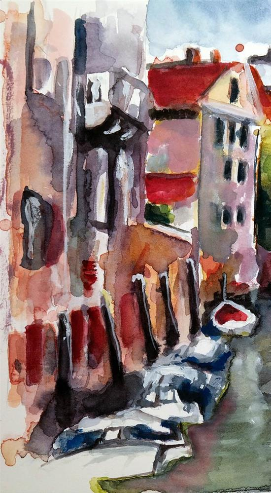 """1208 Canal in Venice"" original fine art by Dietmar Stiller"