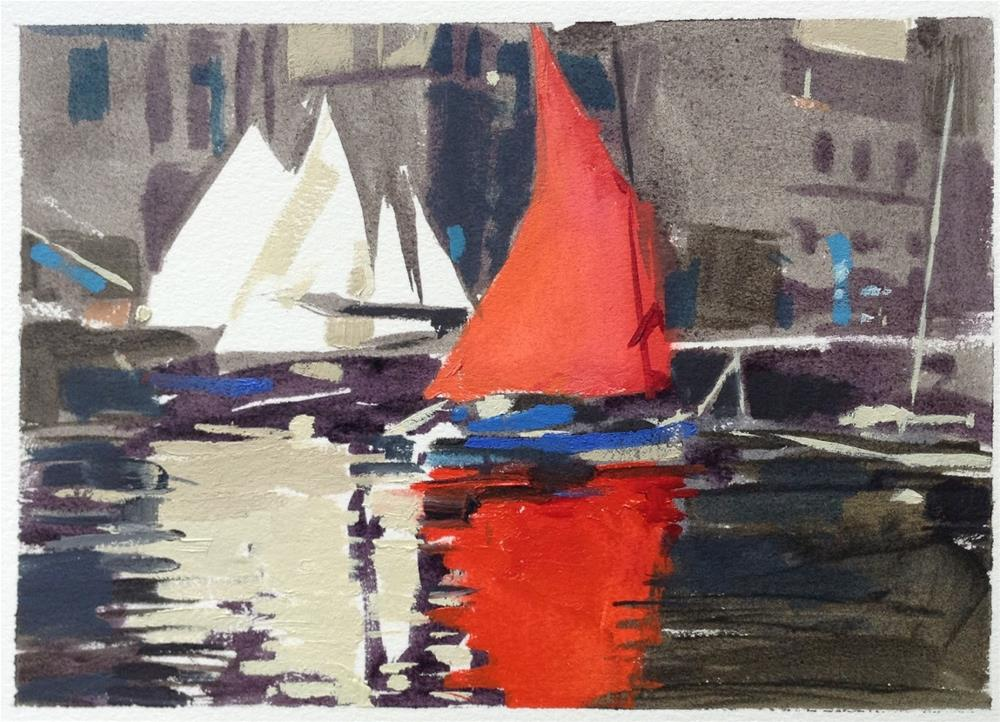 """""""Red red sail"""" original fine art by Haidee-Jo Summers ROI"""