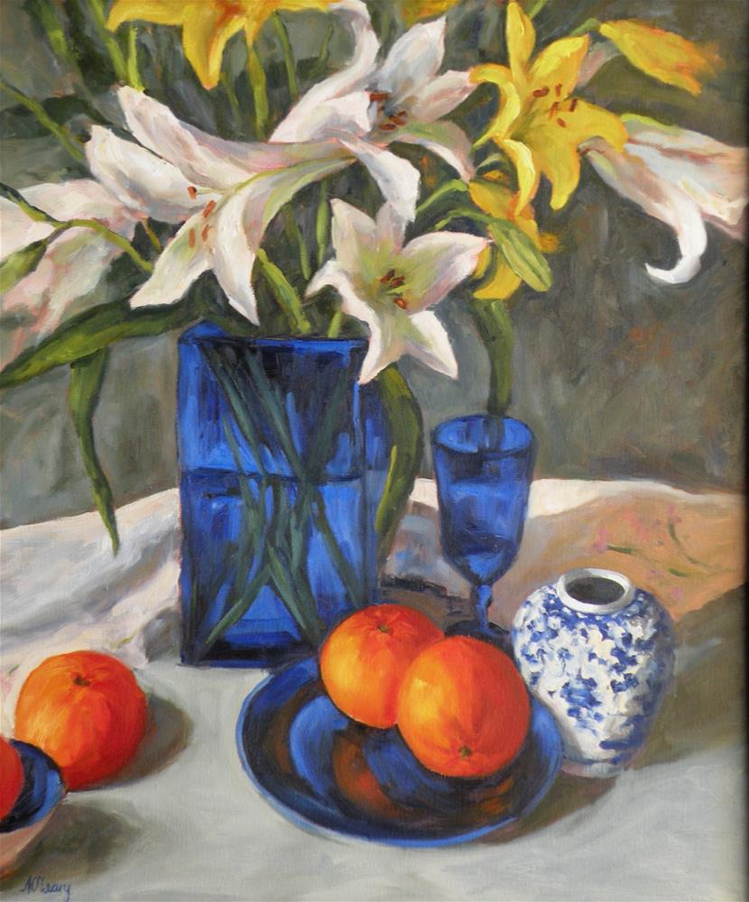 """""""Lilies and Cobalt"""" original fine art by Alice O'Leary"""