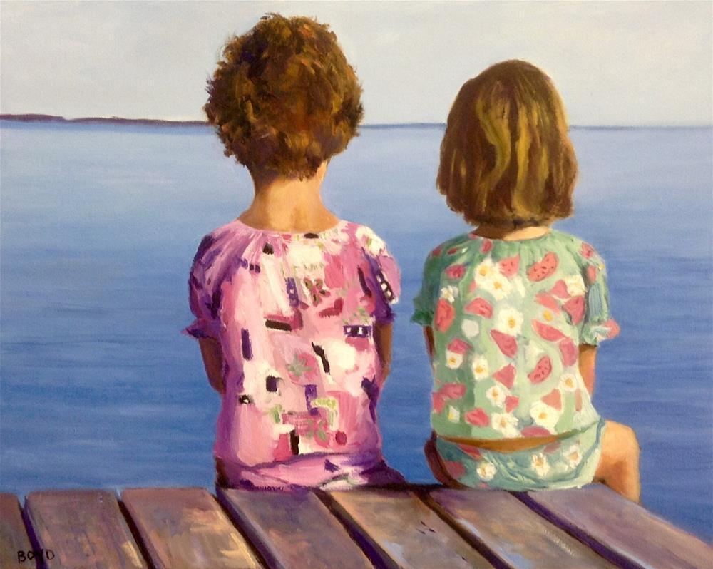 """""""Dockside in Their PJ's"""" original fine art by Cathy Boyd"""