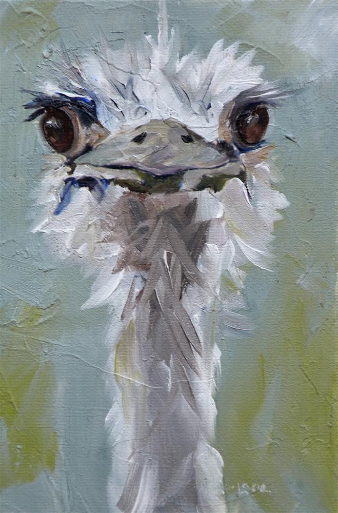"""PEARLY an Ostrich"" original fine art by Saundra Lane Galloway"
