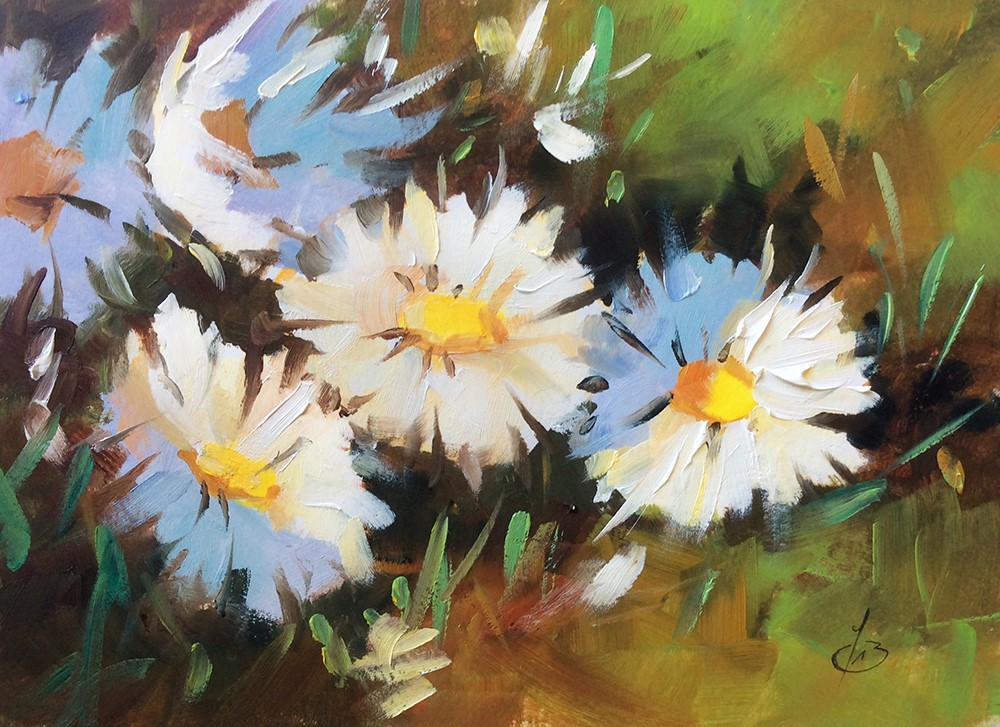 """DAISY GARDEN"" original fine art by Tom Brown"