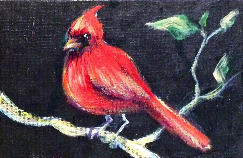 """""""Red Cardinal Bird Painting"""" original fine art by Sonia von Walter"""