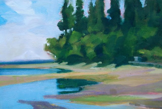 """Eglon Beach  Jim Lamb workshop, pleinair landscape painting,"" original fine art by Robin Weiss"