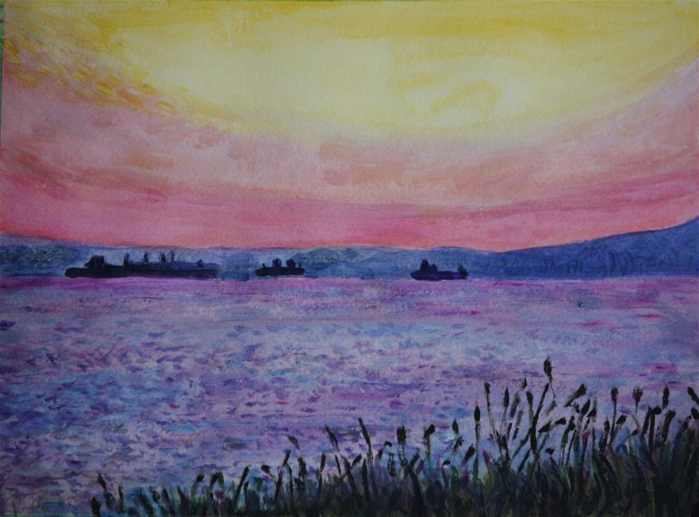 """""""Freighters in English Bay"""" original fine art by Terri-Anne Barge"""