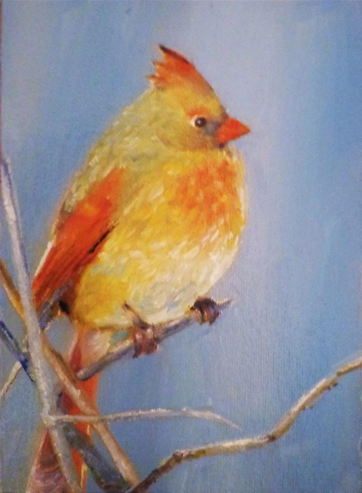"""Female cardinal"" original fine art by Maria Z."