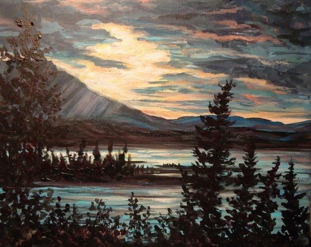 """Sunset at Little Salmon"" original fine art by Jackie Irvine"